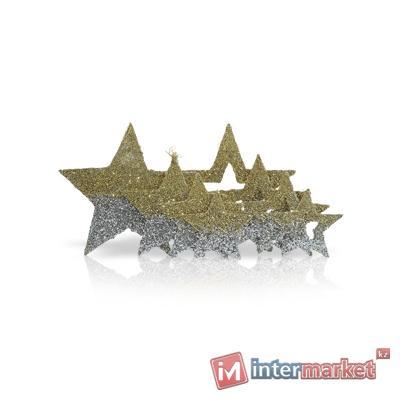 Декор Звезда из сизаля серебро/зол в ассорт 4шт/уп