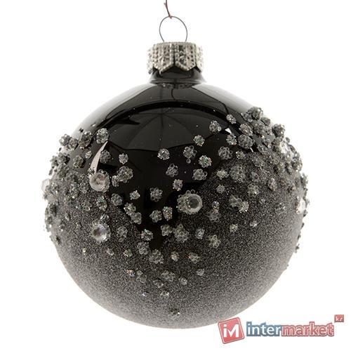 Набор декоративных шаров. Черные, глянцевые со стразами. 6 шт.