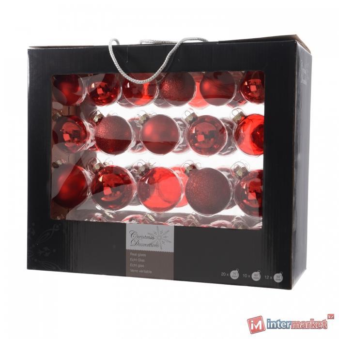 Шар стекло красный глянцевый/матовый/прозрачный d5/6/7см 42шт/уп